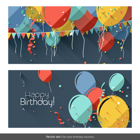 party streamers: Vector set of flat birthday banners Illustration