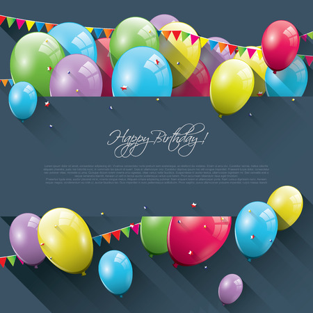 Sweet birthday background with colorful balloons and place for text Vector