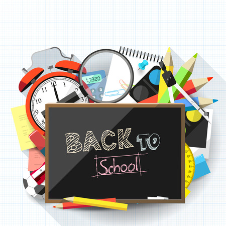 Back to school background with school supplies and blackboard with place for text - flat design style Vector
