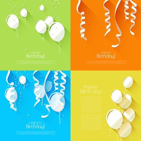 celebration: Vector conjunto de fondos de cumpleaños estilo plana con globos y confeti