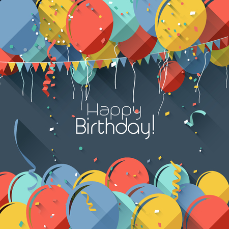 birthday greetings: Colorful birthday background in flat design style