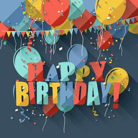 serpentinas: Colorida tarjeta de felicitación de cumpleaños con globos de colores de estilo  diseño plano