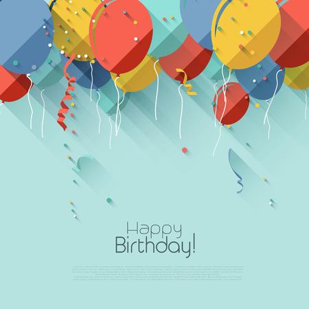 cute backgrounds: Fondo de cumpleaños con estilo diseño plano