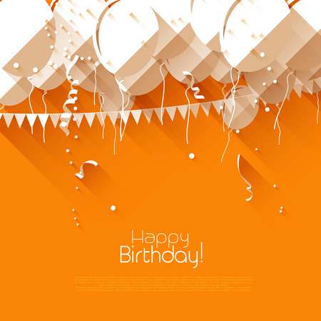 confetti background: Colorful birthday background with balloons and confetti in flat design style Illustration