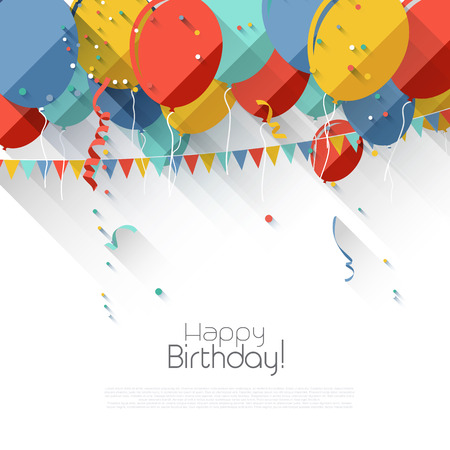 Colorful birthday background with flying balloons and copyspace in flat design style