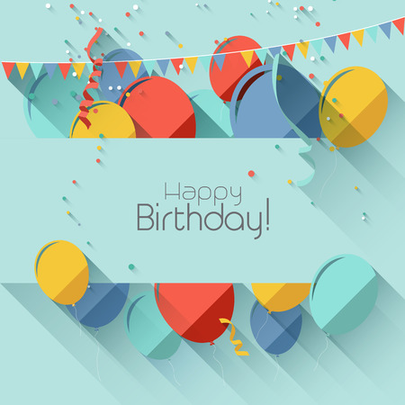 Modern birthday background in flat design style     Vector