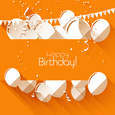 confetti background: birthday background with paper balloons on orange background and with place for text
