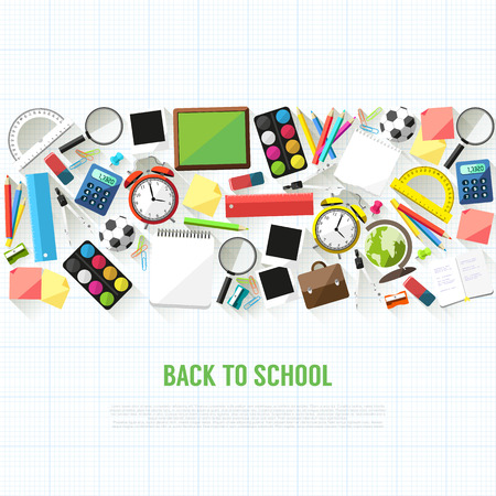 Back to school flat style background created from school supplies