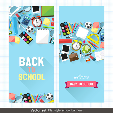 protractor: Vector set: Flat style back to school banners