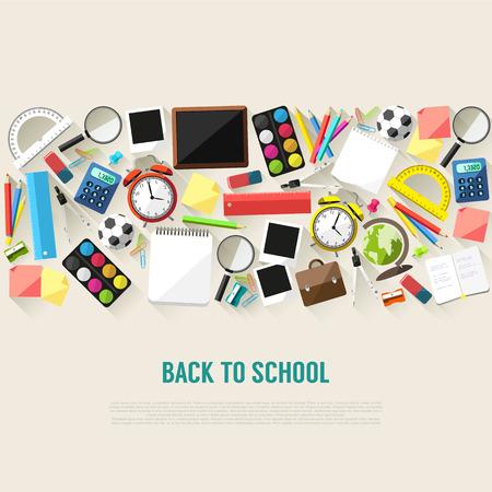 escuela: De nuevo a fondo de estilo plano de la escuela creada a partir de material escolar