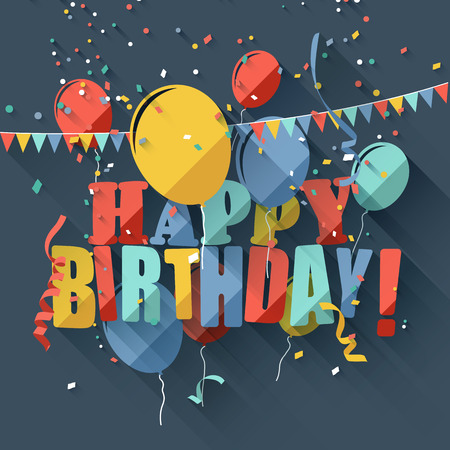 welcoming party: Colorful birthday greeting card with colorful balloonsflat design style