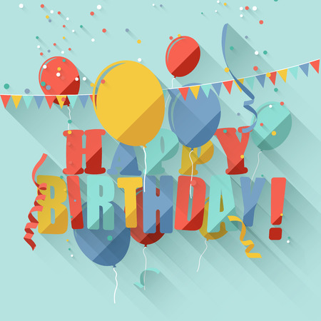 Colorful birthday greeting card with colorful balloonsflat design style   Vector
