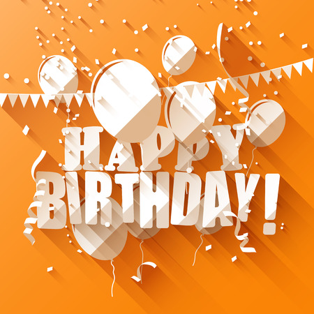 Birthday greeting card with paper balloons on orange backgroundflat design style