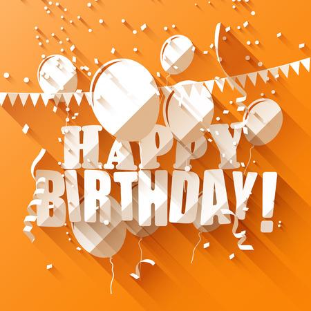 globos de cumpleaños: Tarjeta de felicitación de cumpleaños con globos de papel sobre fondo naranja  estilo de diseño plano