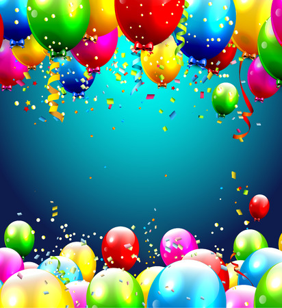 Colorful birthday balloons - background with place for text