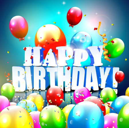 Birthday greeting card with colorful balloons Vector