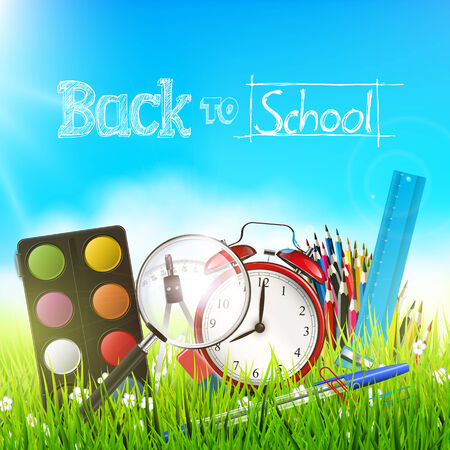 Back to school - vector background with school suppplies in the grass Vector