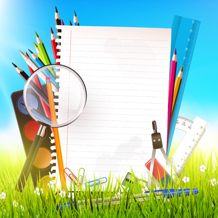Back to school - vector background with school suppplies and empty paper in the grass Vector