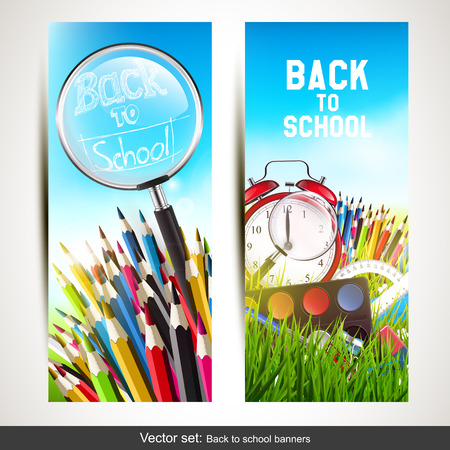 set of two school banners with school supplies in the grass Vector