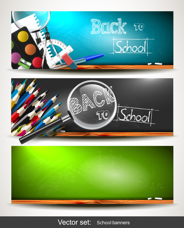 Set of three horizontal banners with school supplies on the chalkboard Vector