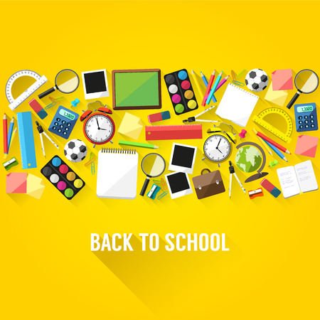 education background: Back to school flat style background created from school supplies
