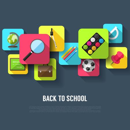 Back to school background - flat design style Illustration