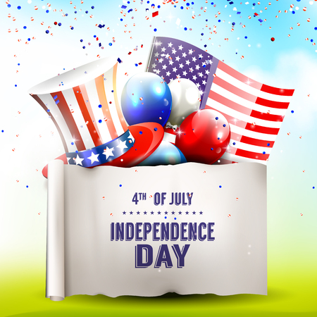 Independence day - poster with hat, balloons and American flag Vector