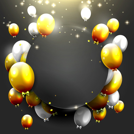 Luxury background with gold and silver balloons on black background Ilustração