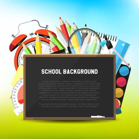 Back to school - background with school suppplies and empty blackboard Vector