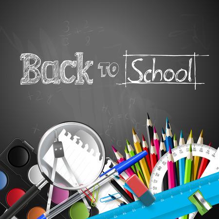 leveringen: Terug naar school achtergrond met schoolspullen en copyspace
