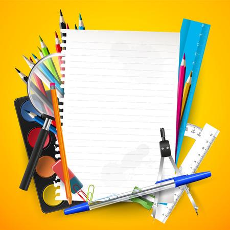 school supplies: School supplies and empty paper on orange background Illustration