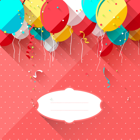 Sweet baby shower with colorful balloons and place for text   Vector