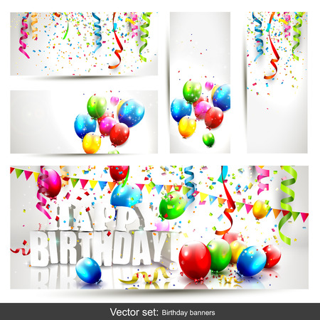 green balloons: set of five colorful birthday banners with confetti and balloons   Illustration