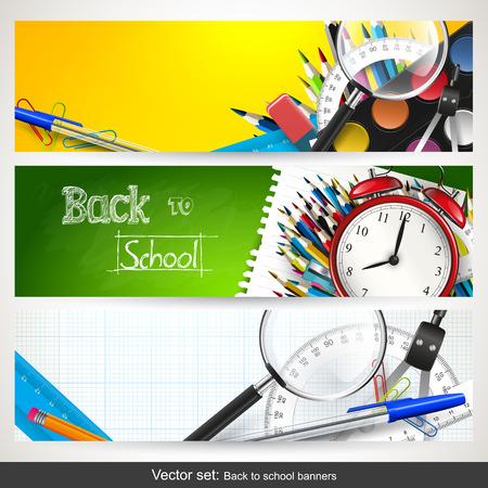 onderwijs: set van drie terug naar school horizontale banners Stock Illustratie