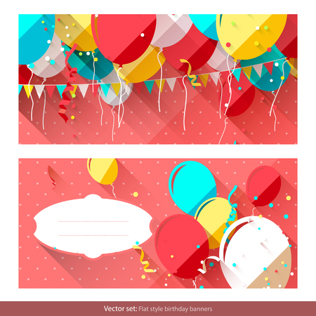 Sweet birthday banners with colorful balloons and place for text     Vector