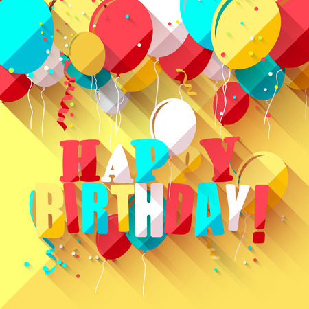 welcoming party: Birthday background with colorful balloons in flat design style