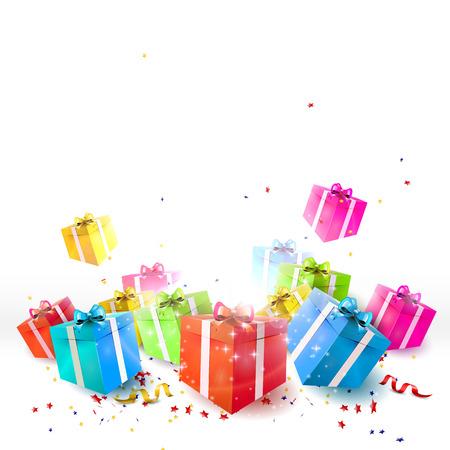 Vier achtergrond met geschenkdozen en confetti