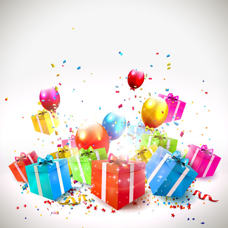happy young people: Celebrate background with gift boxes, confetti and balloons