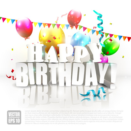Modern Birthday poster with colorful balloons and Happy Birthday inscription Vector
