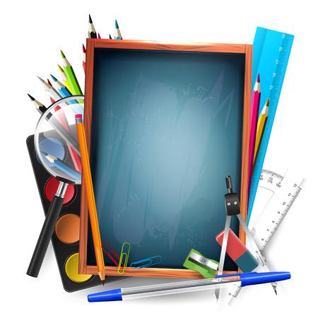 Vector background with school supplies and empty blackboard Vector