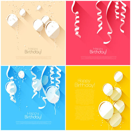 set of flat style birthday backgrounds with balloons and confetti Vector