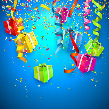 Celebrate background with gift boxes and confetti   Vector