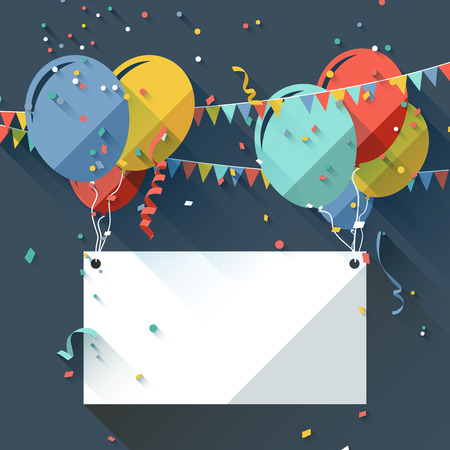 Birthday background with place for text - flat design style