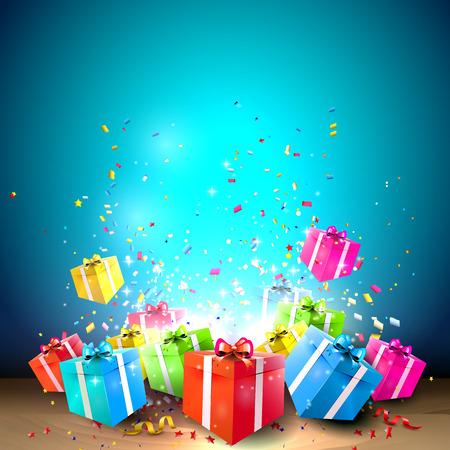 祝う: ギフト用の箱と紙吹雪で背景を祝う