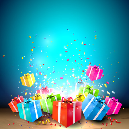 Celebrate background with gift boxes and confetti   Ilustração