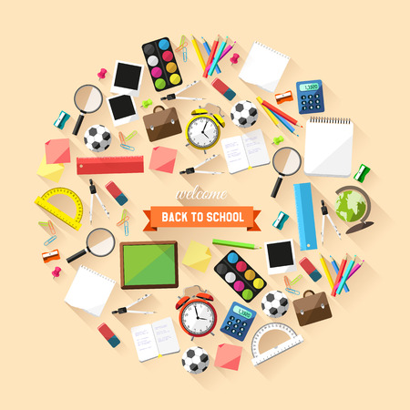 Back to school concept - school supplies in a circle Vector
