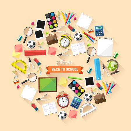 mensen kring: Terug naar school concept - schoolspullen in een cirkel Stock Illustratie