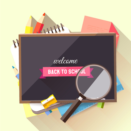 Back to school background with school supplies and blackboard - flat design style     Vector