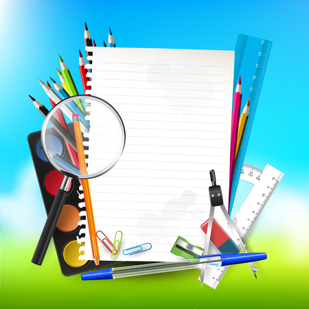 background with school supplies and empty paper   Vector