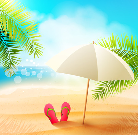 sunny beach: Seaside view on beautiful sunny beach with palm leaves and parasol - vector background Illustration